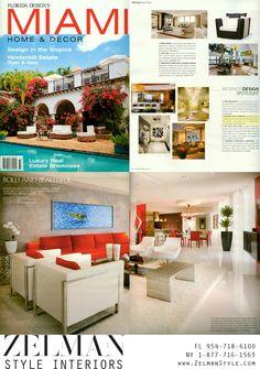 Miami Home and Decor Magazine features Zelman Interiors