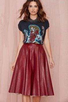 Joa Tara Vegan Leather Skirt - Burgundy at Nasty Gal