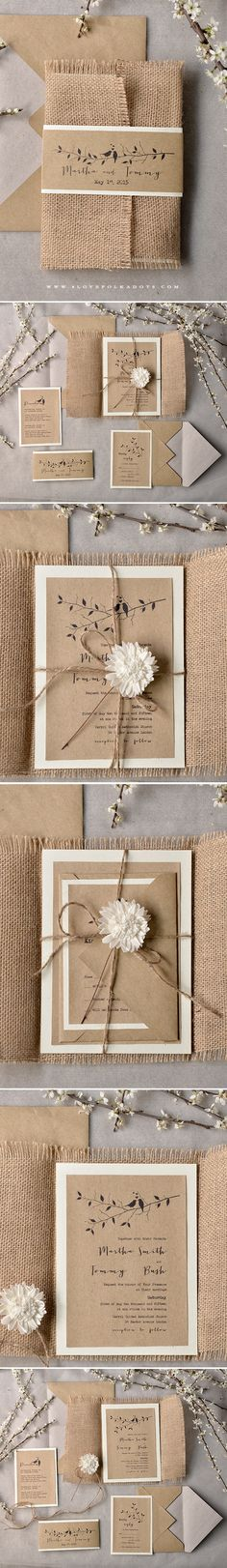 Wedding Invitations with burlap wrapping & flower #ecofriendly #rustic #eco #weddingideas #summerwedding #garden