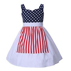 Pettigirl Toddler Girls Cotton Sundress Star Striped Printed Kids Party Dress with Apron Little Girl Outfits, Little Girls, French Street Fashion, Play Dress, White Skirts, Stripe Print, Two Piece Skirt Set, Toddler Girls, Apron