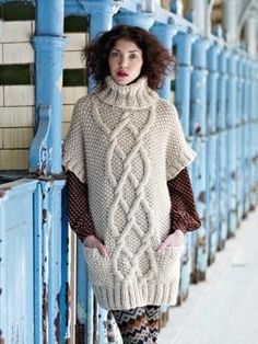 Knit this womens cabled short sleeve sweater dress from Easy Winter Knits. A design by Martin Storey using Big Wool, one of our most popular chunky yarns made from 100% wool. This pattern is suitable for intermediate knitters.