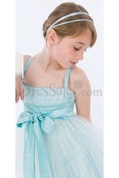 Blue Tulle Bowtie Flower Girl Dress
