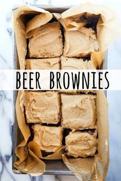 Beer Brownies made with Coffee Stout Beer - Dessert for Two - Cooking for two or baking for two? Make these brownies in a loaf pan. The beer in the batter and th - Dessert Bars, Dessert For Two, Coffee Dessert, Coffee Drinks, Köstliche Desserts, Delicious Desserts, Dessert Recipes, Yummy Food, Plated Desserts