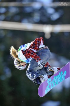 Hannah Teter competing Snowboard Half-pipe Women at the 2010 Vancouver Olympic Winter Games.