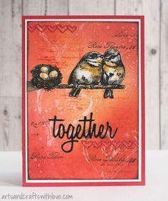 Card with inked and stamped background, decorated with die-cut elements and stamped images. -by Elina Stromberg-