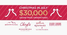 From 7/1–7/31/17, enter our Christmas in July® Sweepstakes once every 24 hours for a chance to win fabulous weekly prizes