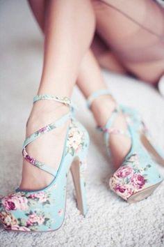 Cute pretty beautiful fashion shoes high heels blue flowers schoenen hakken bloemen blauw