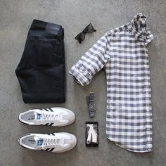 Outfit grid - Checks & black jeans