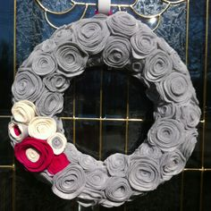 My first attempt at a felt rosette wreath for Valentine's Day.