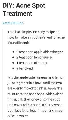 At home Acne spot treatment