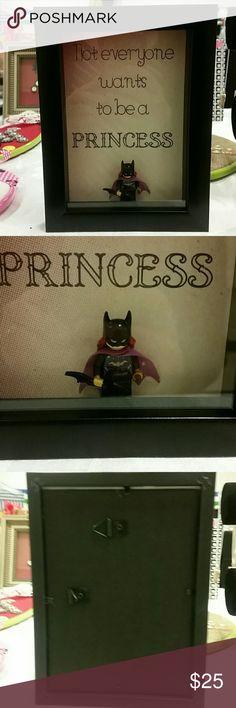 "Superhero princess shadowbox ""Not everyone wants to be a princess"" with Batgirl figurine shadowbox.  5"" x 7"" black shadowbox Other"