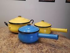 Vintage Set of Three Colorful Enamelware Pots and Pans Made in Japan Yellow Blue