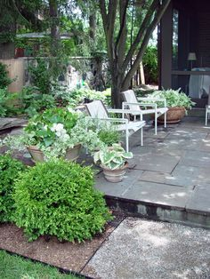 patio and planters for a shady garden