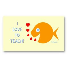 Cute Elementary Tutor Business Cards Template Features Hy Little Goldfish Ing Tiny Hearts Instead