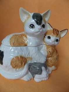 3 Cats Cookie Jar 1990 Beautiful Large Porcelain H HD Hearth Home Designs |  EBay
