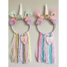 🦄🎀 Two Custom Unicorn Dreamcatchers with added Initials ready for their new home 🦄🎀 Unicorn Rooms, Unicorn Bedroom, Unicorn Head, Handmade Home Decor, Handmade Baby, Handgemachtes Baby, Baby Girls, Diy For Kids, Crafts For Kids