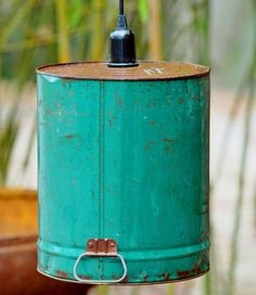 Hanging Industrial Light  Vintage Blueish Green by TinkerLighting, $55.00