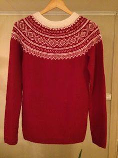 Rød Marius-genser Knit Stranded, Bunt, Crochet, Knitting Patterns, Converse, Blouse, Long Sleeve, Sleeves, Sweaters