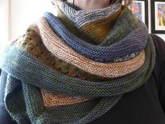 Samen by Stephen West malabrigo Lace in Paris Night, Olive, Roanoke, Tortuga and Pearl