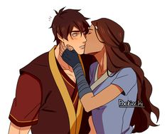 Prince Zuko gets a kiss on his cheek from Katara from Avatar The Last Airbender Avatar Zuko, Avatar Airbender, Katara Y Zuko, Suki Avatar, Avatar Funny, Team Avatar, Azula, Haikyuu, Prince Zuko