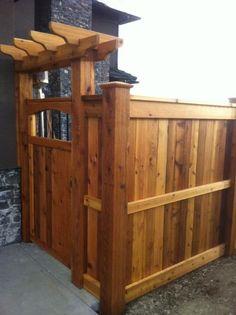 Pergola Kits Attached To House Backyard Privacy, Backyard Fences, Backyard Projects, Fenced In Yard, Backyard Landscaping, Yard Fencing, Diy Fence, Garage Pergola, Wood Pergola