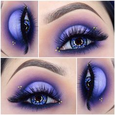 """I used @gerardcosmetics brow bar to go  and @anastasiabeverlyhills Dipbrow in """"Chocolate"""". Set with clear gel and cleaned up with amazing concealer from @amazingcosmetics_official. @morphebrushes 35C palette. @cailynmakeup mineral eye polish in """"violet"""" and gel eyeliner. @babydolljess714 """"fairy tale"""" pigment in the center. @motivescosmetics eye base to clean up the crease and their liquid eyeliner. """"Citreuse"""" liquid eyeliner from @limecrimemakeup for the dots."""