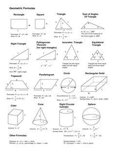 Geometrical formulas geometric formulas, geometric shapes, m Gcse Maths, Maths Algebra, Ap Calculus, Math Math, Geometric Formulas, Geometric Shapes, Math College, Math Formula Chart, Algebra Formulas