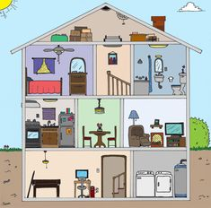 House cutaway by leslie evaluation/ assessment okul, oyun dü Spanish 1, Spanish House, Spanish Class, Spanish Lessons, Teaching French, Teaching Spanish, Teaching English, Paper Doll House, House Games
