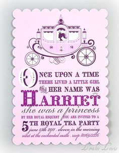 Perfect princess invite - LoraleeLewis etsy