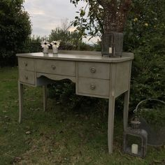 Vintage Grey Hand Painted Dressing Table Writing Desk Side Table Five Drawers