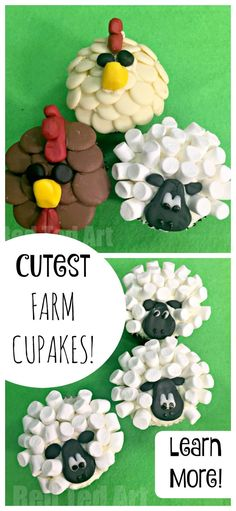 These CUTE Sheep Cupcakes and Chicken Cupcakes are SO SO SO easy to make. They would be PERFECT for a Farm Themed Party and are great for cooking with kids. Come and see how VERY easy they are to make! PIN FOR LATER NOW.