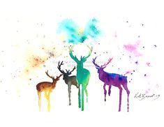 Deer Park 8.5 x 11 Print of watercolor by MilkandHoneybread