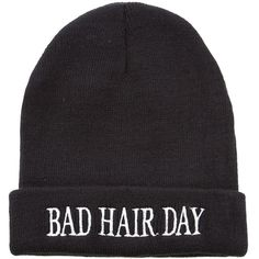 Black Bad Hair Day Beanie ($1.49) ❤ liked on Polyvore featuring accessories, hats, beanies, black, black beanie cap, beanie cap, beanie hats, black beanie and beanie cap hat