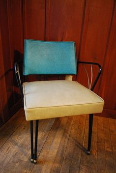 Mid Century Modern Chair - Mod Vinyl Metal Turquoise Black Cream Atomic Furniture Living Room Office Mad Men via Etsy.