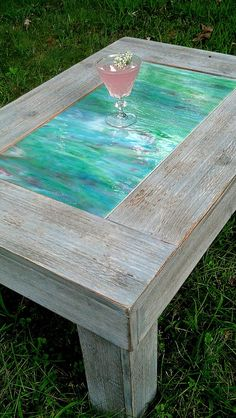 Coffee Table-wood And Green Art Glass-handmade-grey Barnwood Finish-quick Custom…