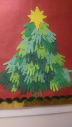 Christmas Themed Art Activity  Hand print Christmas Tree