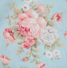 shabby chic pink/blue floral fabric | Details about SHABBY Pink Cabbage ROSES on BLUE FABRIC