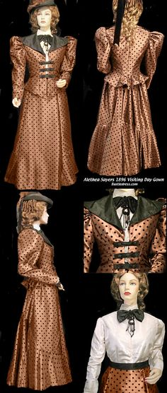 WEAR TO READY Dots Velvet with Taffeta Copper of Costume Dress Visiting Victorian 1896