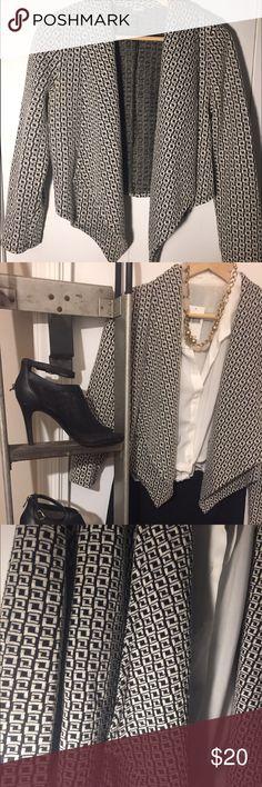 Blazer / sweater, black/white Open-flow front, cropped sweater blazer with black and white design Jackets & Coats Blazers