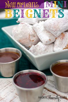 New Orleans Mini Beignets _ From the beautiful city of New Orleans! In a in New Orleans Square restaurant they serve beignets with delicious dipping sauces! Amazing Sauces: Chocolate Hazelnut, Butterscotch Cara!.