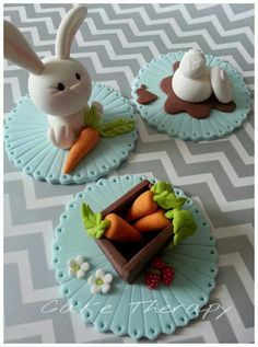 Easter cupcake toppers - For all your cake decorating supplies, please visit… Fondant Cupcakes, Easter Cupcakes, Fondant Toppers, Easter Cookies, Easter Treats, Cupcake Cakes, Easter Cake Toppers, Garden Cupcakes, Valentine Cupcakes