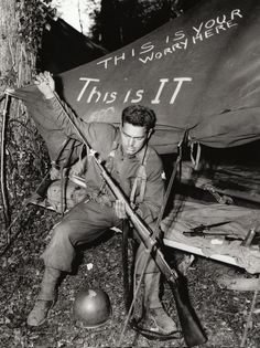 A U.S. Army soldier cleans his M1903 bolt-action rifle in a camp in England shortly before the Normandy invasion. Although the U.S. Army had adopted the semiautomatic M1 Garand rifle in 1937, a large number of M1903s were still being issued in 1944.  Martin K. A. Morgan, author of The Americans on D-Day: A Photographic History of the Normandy Invasion, due out in a few weeks, explains why M1903s were still in use on D-Day. Springfield Rifle, Military Pins, Military Weapons, Bolt Action Rifle, Military Pictures, Army Soldier, Ww1 Battles, M1 Garand, Normandy Invasion