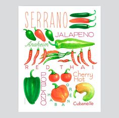 Peppers of all kinds in kitchen poster artwork. by ZodiacZack, $21.00