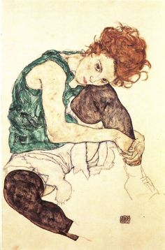 egon schile / Sitting Woman with Legs Drawn Up