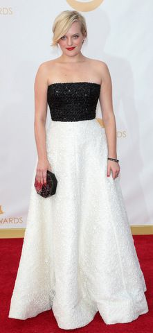 Elisabeth Moss in a black and white Andrew Gn gown at the 2013 Emmy Awards