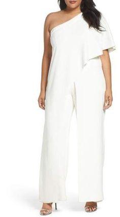 42d84c603a Adrianna Papell One-Shoulder Jumpsuit (Plus Size)