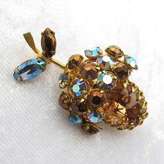 Vintage Unsigned Schreiner Crystal Fruit Pin from Vintage Jewelry Girl! #vintagejewelry #vintagebrooch #shcreiner