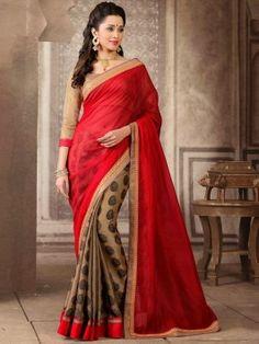 Red Jacquard Saree With Zari Work