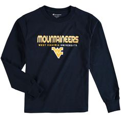 West Virginia Mountaineers Champion Youth Jersey Long Sleeve T-Shirt - Navy - $15.99