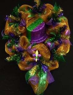 Mardi Gras Wreath Mardi Gras Decor Poly Mesh by wreathsbyrobin